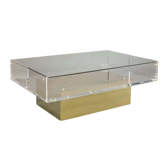 Hollywood Regency Lillian August Lucite and Brass Apollo Cocktail / Coffee Table For Sale