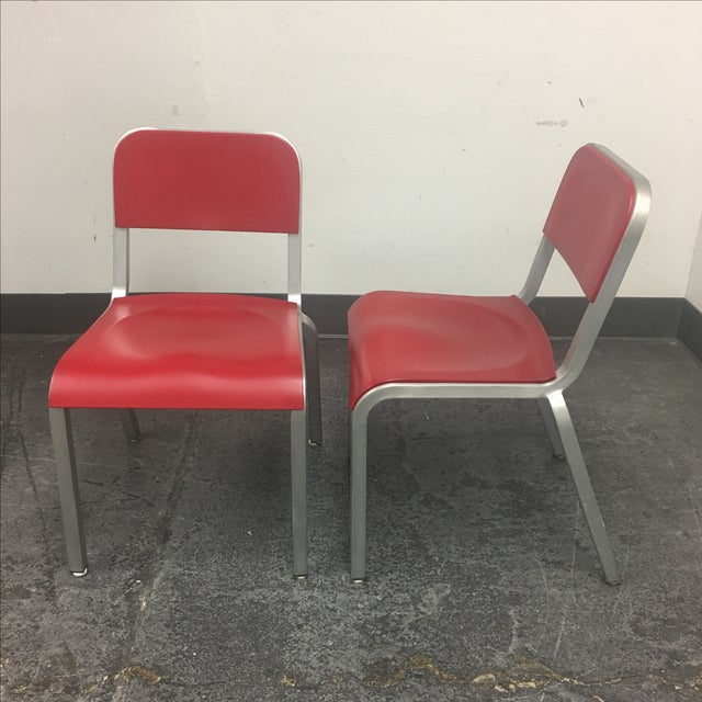 1951 Design Within Reach Emeco Red Chairs - A Pair - Image 4 of 8