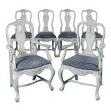Image of 19th Century Antique Swedish Gustavian Dining Chairs- Set of 6 For Sale