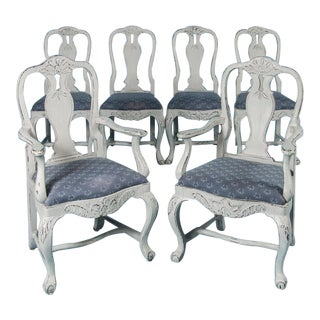 19th Century Antique Swedish Gustavian Dining Chairs- Set of 6 For Sale
