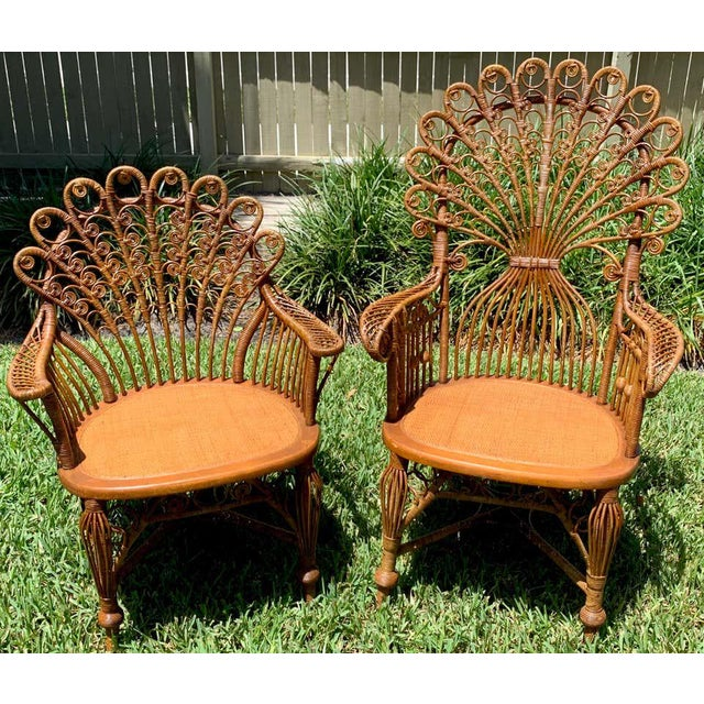 Wicker High Victorian Wicker Parlour Set - Set of 6 For Sale - Image 7 of 13
