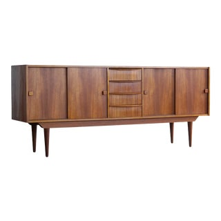 Danish Mid-Century Low Teak Sideboard by Domino Møbler, 1960s For Sale