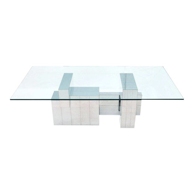 Paul Evans for Directional Large Chrome Glass Top Dining Conference Table For Sale