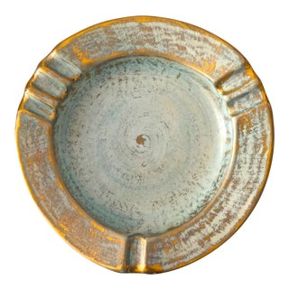 Stangl Pottery Aqua and Gold Ashtray Mid Century For Sale
