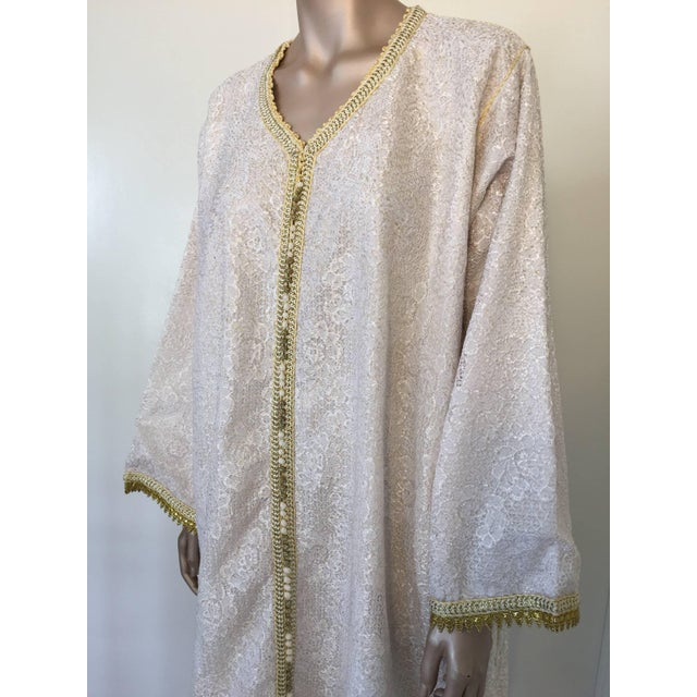Moroccan caftan, evening or interior white and gold lace dress kaftan with gold trim. Handmade vintage exotic 1970s...
