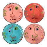 Image of Large Pottery Face Plates — Set of 4 For Sale