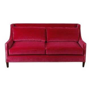 Cranberry Velvet Zena Sofa For Sale