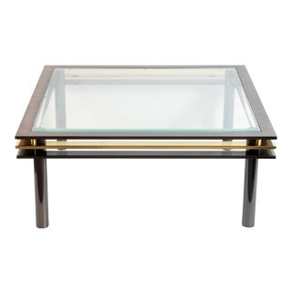 Vintage Postmodern Black Chrome & Brass Coffee Table by Design Institute of America For Sale