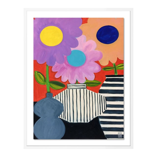 Big Flowers by Jelly Chen in White Framed Paper, Medium Art Print For Sale