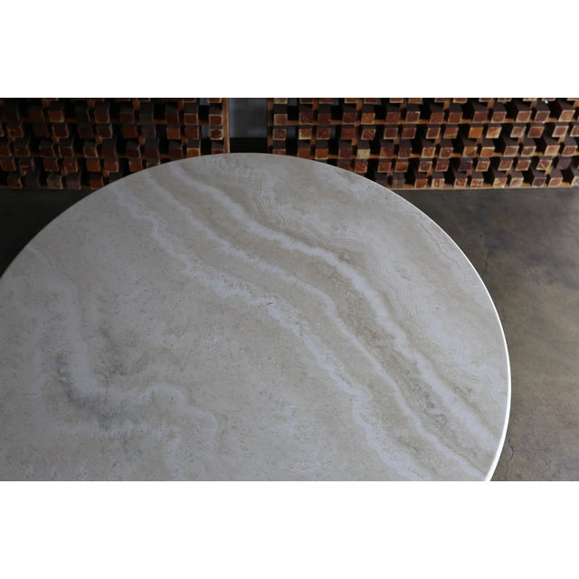 White 1980s Modern Style Travertine Centre Table For Sale - Image 8 of 9
