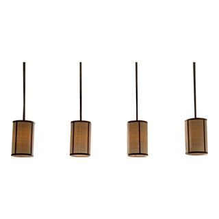 "Contemporary Design Frères ""Cylindre"" Patinated Brass & Raffia Pendant Lights - Set of 4 For Sale"