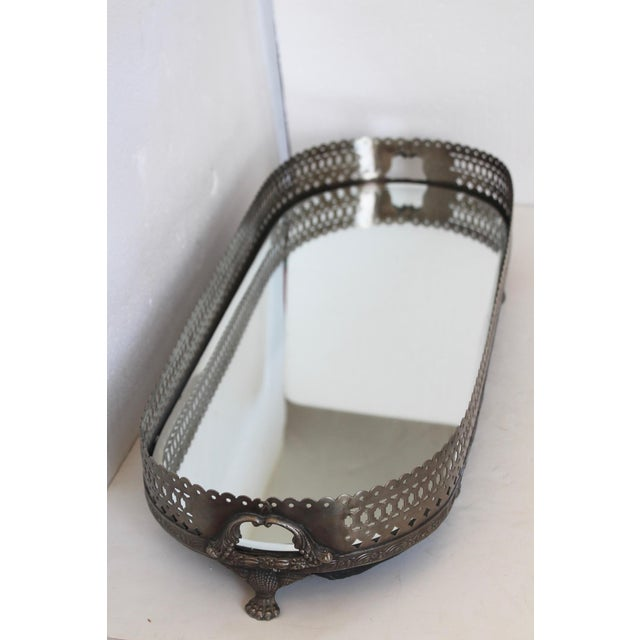 Mirrored Pewter Gallery Tray For Sale - Image 4 of 6