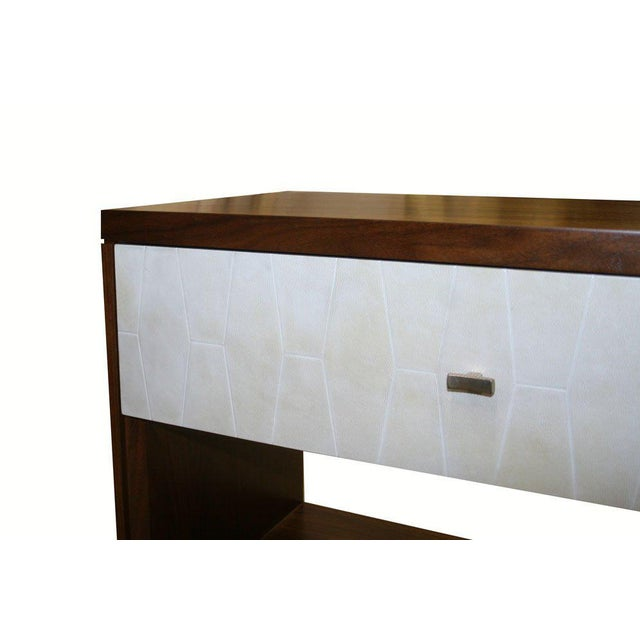 Modern Customizable Francois Walnut and Parchment Nightstands For Sale - Image 3 of 9