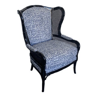 Faux Bamboo Wing Chair For Sale