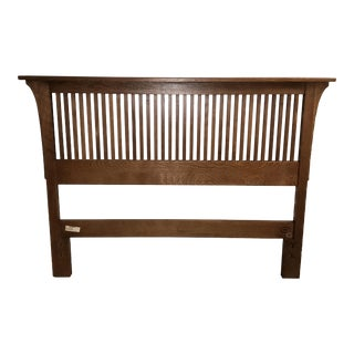 Stickley Mission Oak Headboard and Metal Frame For Sale
