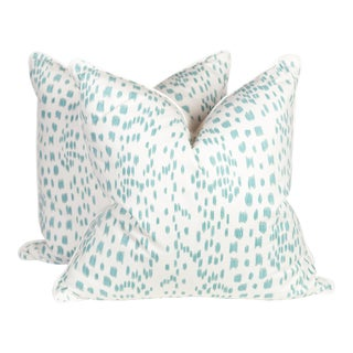 Brunschwig & Fils Turquoise and Ivory Les Touches Pillows, Pair