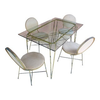 Midcentury Modern Salterini Glass and Iron Dining Table, 4 Chairs, Indoor Outdoor For Sale