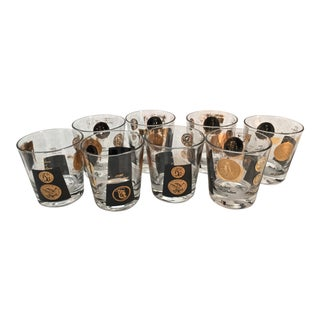 Libbey Cera Black and Gold Lowball Glasses - Set of 8 For Sale