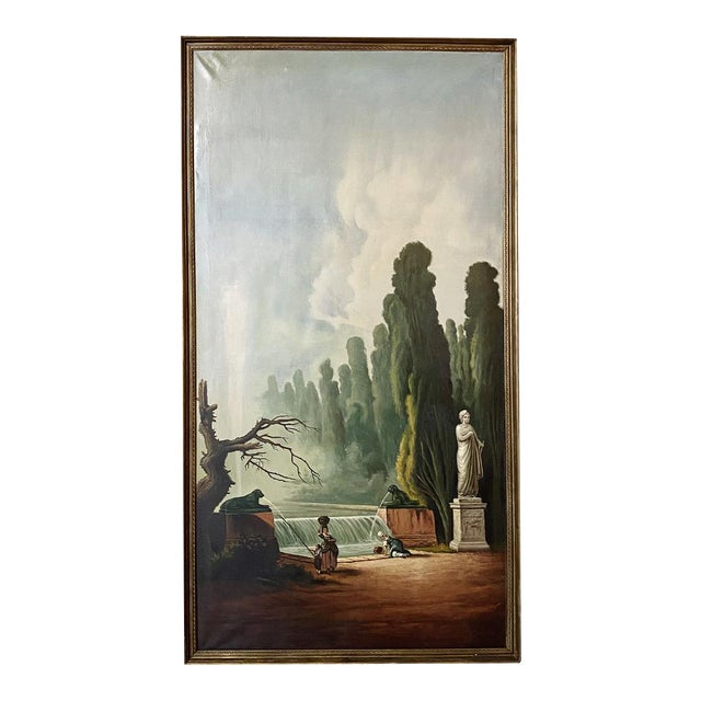 Grand Framed Oil Painting on Canvas by E. Carliez After H. Robert For Sale