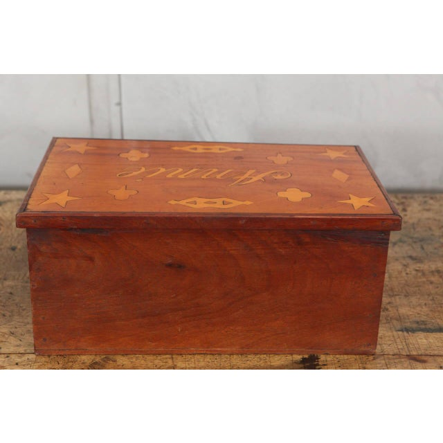 Country Antique Inlaid Sailor Box For Sale - Image 3 of 6