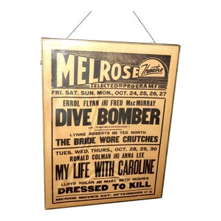 "Melrose Los Angeles Movie Theater Coming Attraction ""Broadside"" Poster Circa 1941 for ""Dive Bomber"" Directed by Michael Curtiz For Sale"