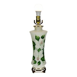 Vintage Hand Painted Floral Porcelain Table Lamp - Signed For Sale