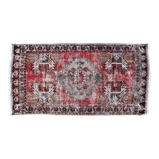 "Early 20th Century Turkish Muted Reds Accent Rug - 1'9"" X 3'5"" For Sale"