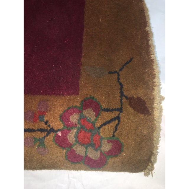 """Gold & Red Vintage Chinese Wool Rug - 2' x 3'10"""" For Sale - Image 10 of 11"""