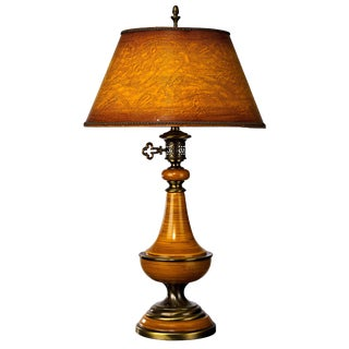 1960's Amber Ceramic and Brass Traditional Table Lamp For Sale