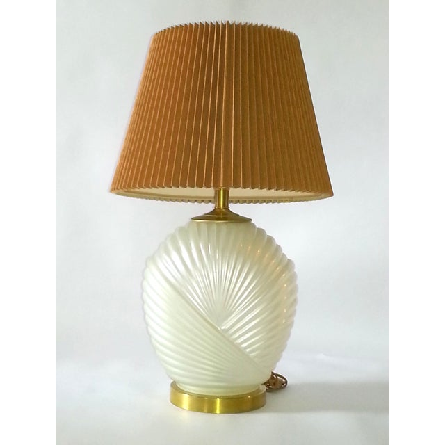 Hollywood Regency Glass & Brass Table Lamp For Sale In Miami - Image 6 of 7