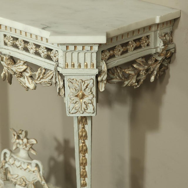 19th Century Swedish Neoclassical Marble-Top Painted Console For Sale - Image 9 of 12