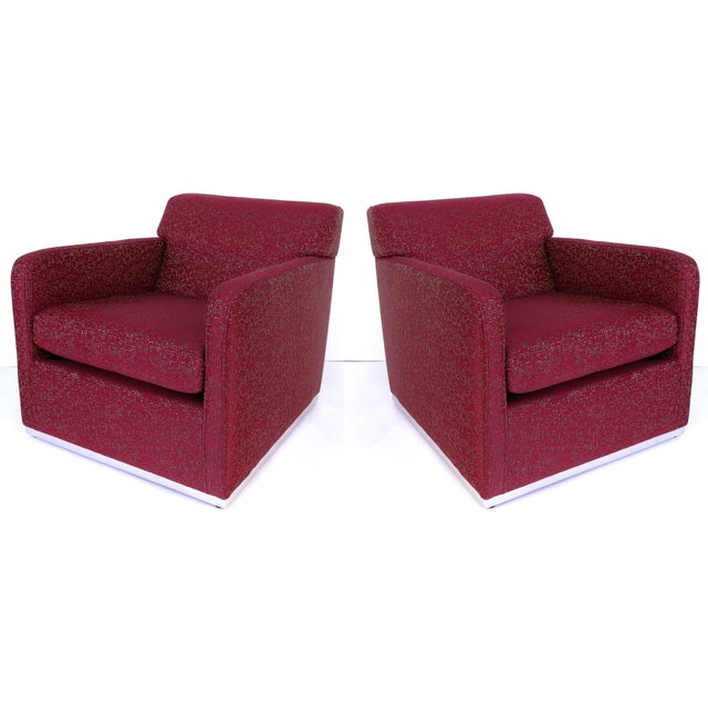 Mid-Century Modern Upholstered Club Chairs W/ Stainless Steel - a Pair For Sale - Image 9 of 9