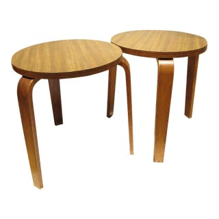 1940s Alvar Aalto Mid-Century Modern Tables / Stools- a Pair For Sale