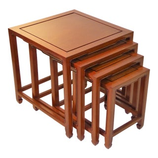 Exquisite Far East Style Teak Nesting Tables - Set of 4 For Sale