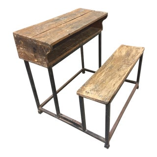 20th Century Rustic Wooden Desk With Iron Frame For Sale