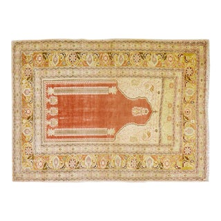 "Vintage Turkish Anatolian Prayer Design Hand Knotted Organic Wool Fine Weave Rug,4'5""x5'9"" For Sale"