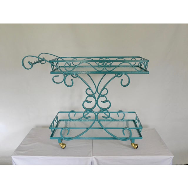 Vintage Wrought Iron & Glass Restored Teal Bar Cart - Image 2 of 5