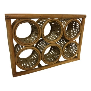 Small Rattan Boho-Chic Wine Rack