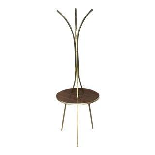 Vintage Mid Century Brass Tri Leg Tripod Base Round Side Table Floor Lamp For Sale