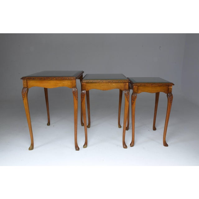 Three French Vintage Bookmatch Nesting Tables, 1960s-1970s For Sale - Image 11 of 13