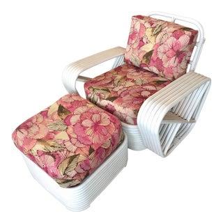 Paul Frankl Style Rattan Pretzel Chair & Ottoman