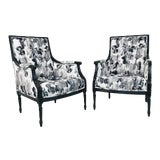Image of Pair Black & White Watercolor Armchairs (4 Pairs Available) For Sale