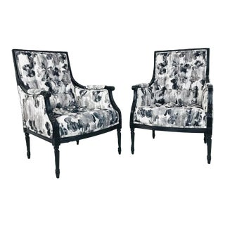 Pair Black & White Watercolor Armchairs (4 Pairs Available) For Sale