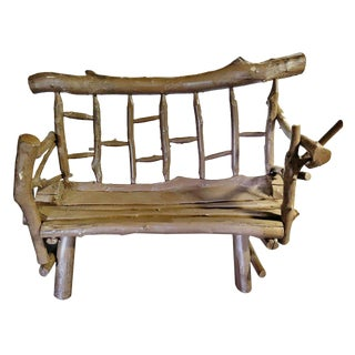 Authentic Rustic Primitive Branch Bench For Sale