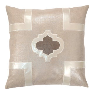 """Piper Collection Beige Metallic Linen """"Griffin"""" Pillow For Sale"""