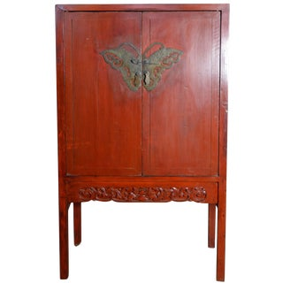 Late 19th Century Chinese Red Lacquered Two-Door Cabinet With Butterfly Hardware For Sale