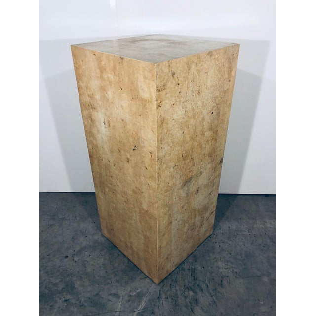 Contemporary Karl Springer Style Decorative Parchment Display Pedestal For Sale - Image 3 of 13