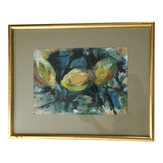 1960s Still Life of Lemons Oil on Paper Painting For Sale