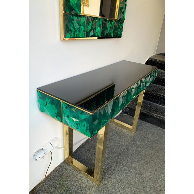Contemporary Brass Mirror Console with Green Murano Glass, Italy For Sale - Image 4 of 13