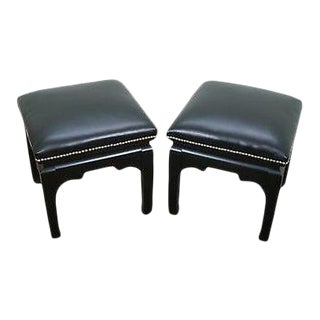 Quality Pair of Ebonized Asian Style Benches W/ Leather For Sale
